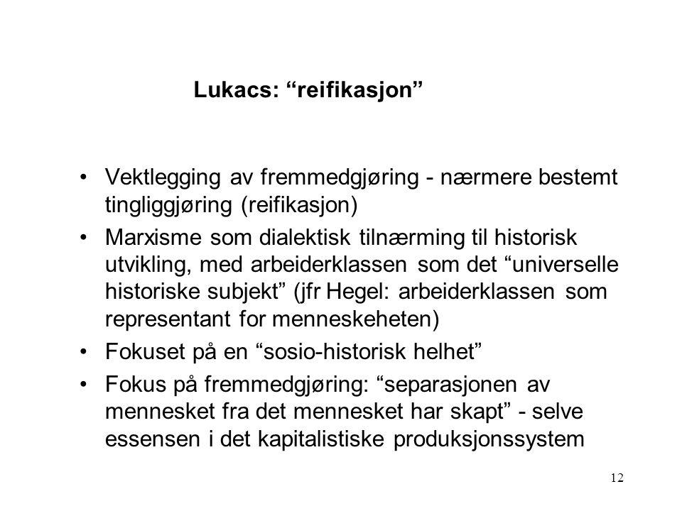 Lukacs: reifikasjon
