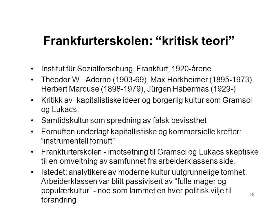 Frankfurterskolen: kritisk teori
