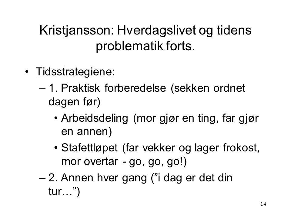 Kristjansson: Hverdagslivet og tidens problematik forts.