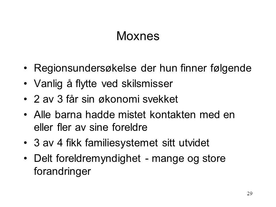 Moxnes Regionsundersøkelse der hun finner følgende