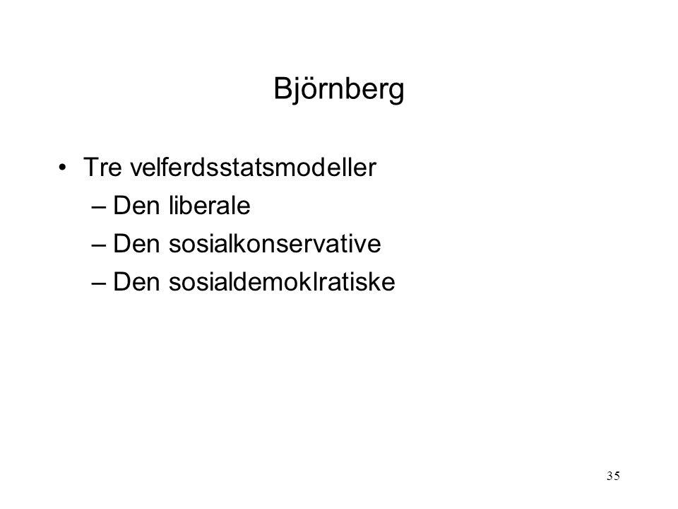 Björnberg Tre velferdsstatsmodeller Den liberale