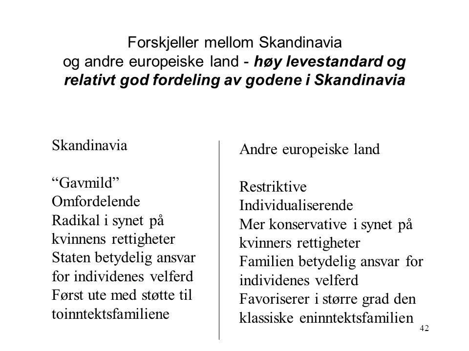 Forskjeller mellom Skandinavia og andre europeiske land - høy levestandard og relativt god fordeling av godene i Skandinavia
