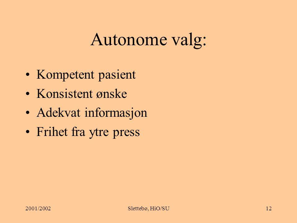 Autonome valg: Kompetent pasient Konsistent ønske Adekvat informasjon
