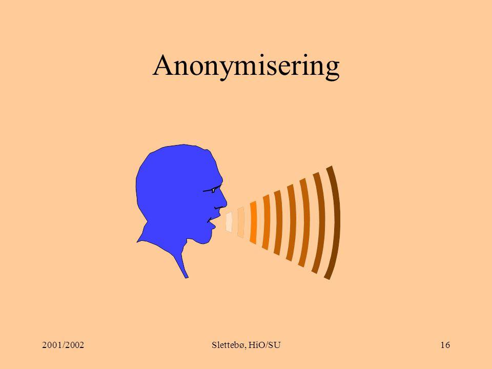 Anonymisering 2001/2002 Slettebø, HiO/SU
