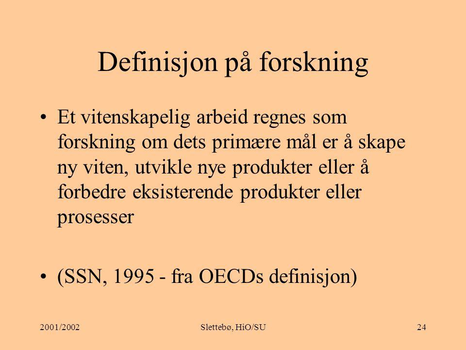 Definisjon på forskning