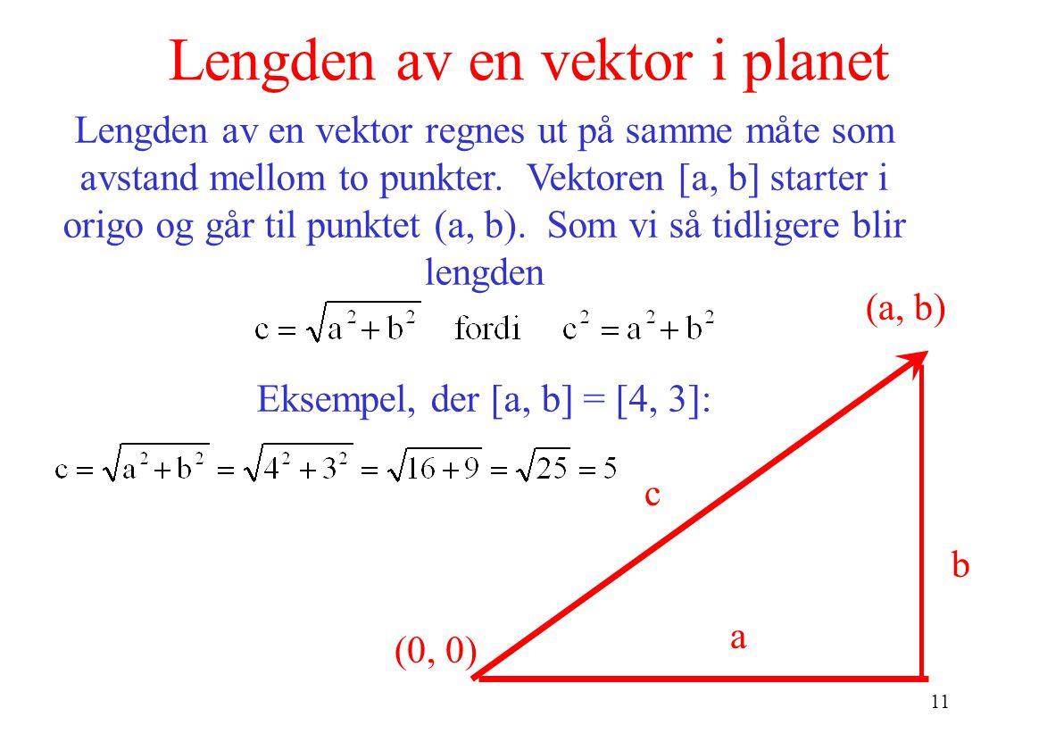 Lengden av en vektor i planet