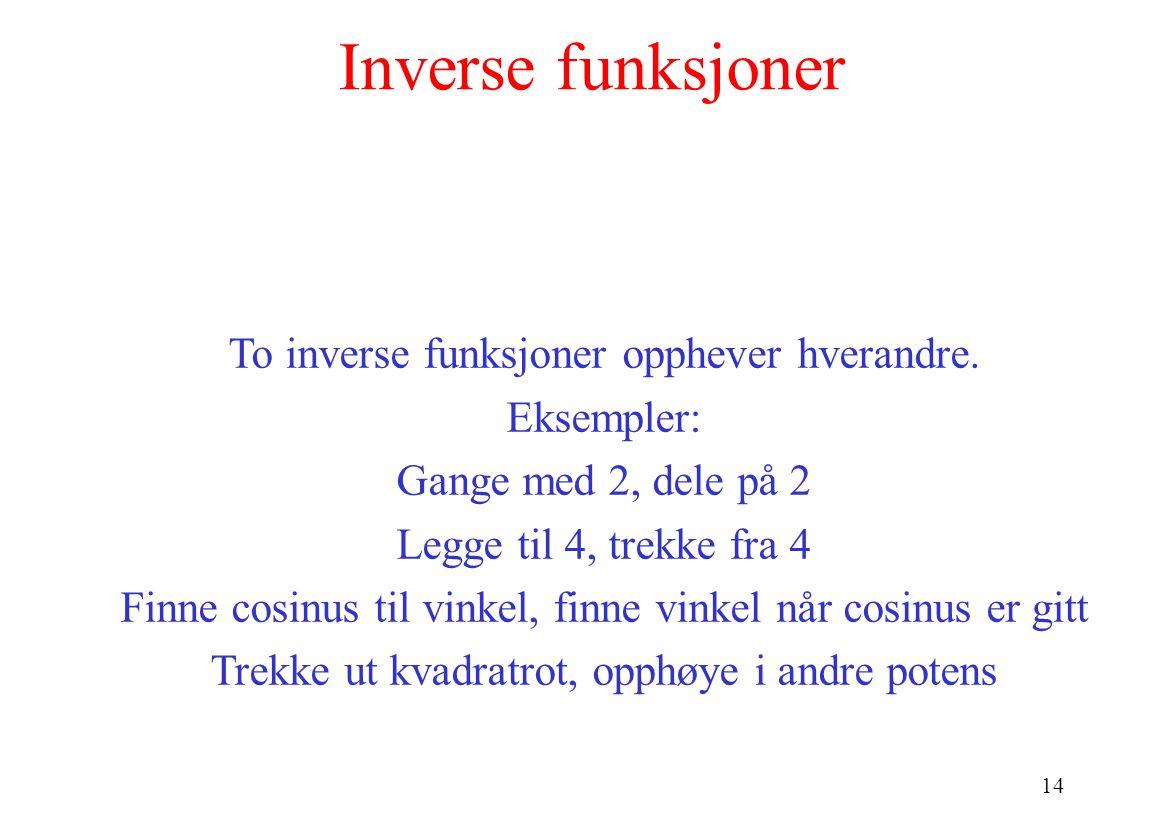 Inverse funksjoner To inverse funksjoner opphever hverandre.