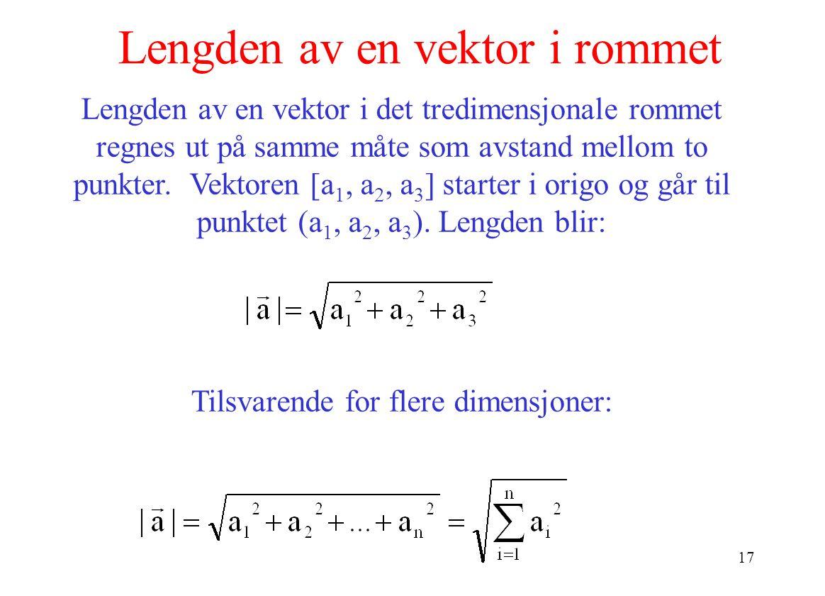 Lengden av en vektor i rommet