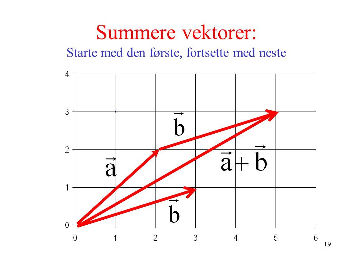 Summere vektorer: Starte med den første, fortsette med neste
