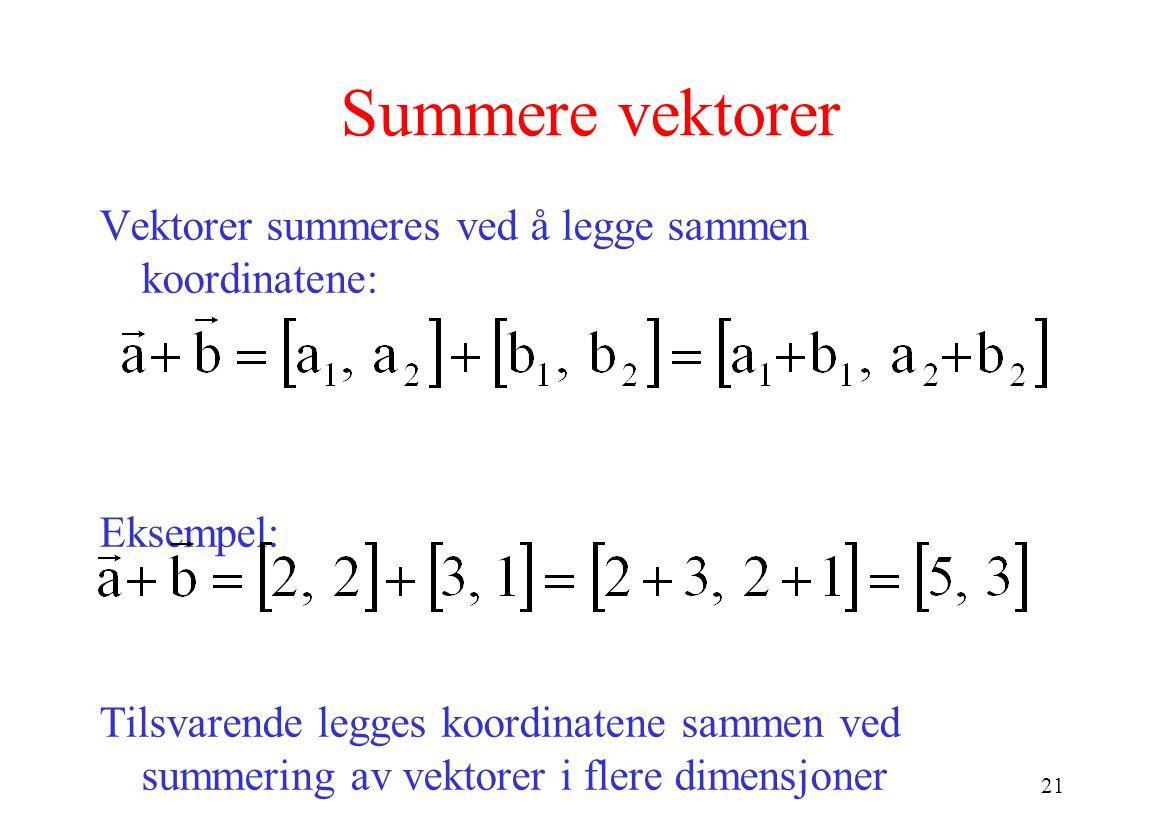 Summere vektorer Vektorer summeres ved å legge sammen koordinatene: