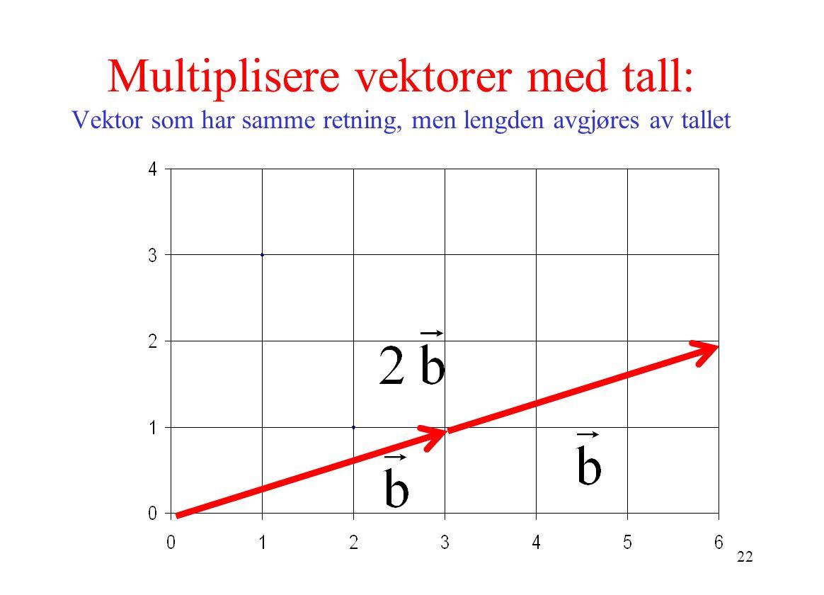 Multiplisere vektorer med tall: Vektor som har samme retning, men lengden avgjøres av tallet
