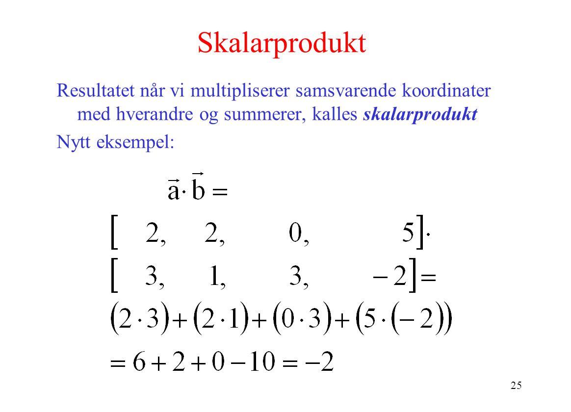 Skalarprodukt Resultatet når vi multipliserer samsvarende koordinater med hverandre og summerer, kalles skalarprodukt.