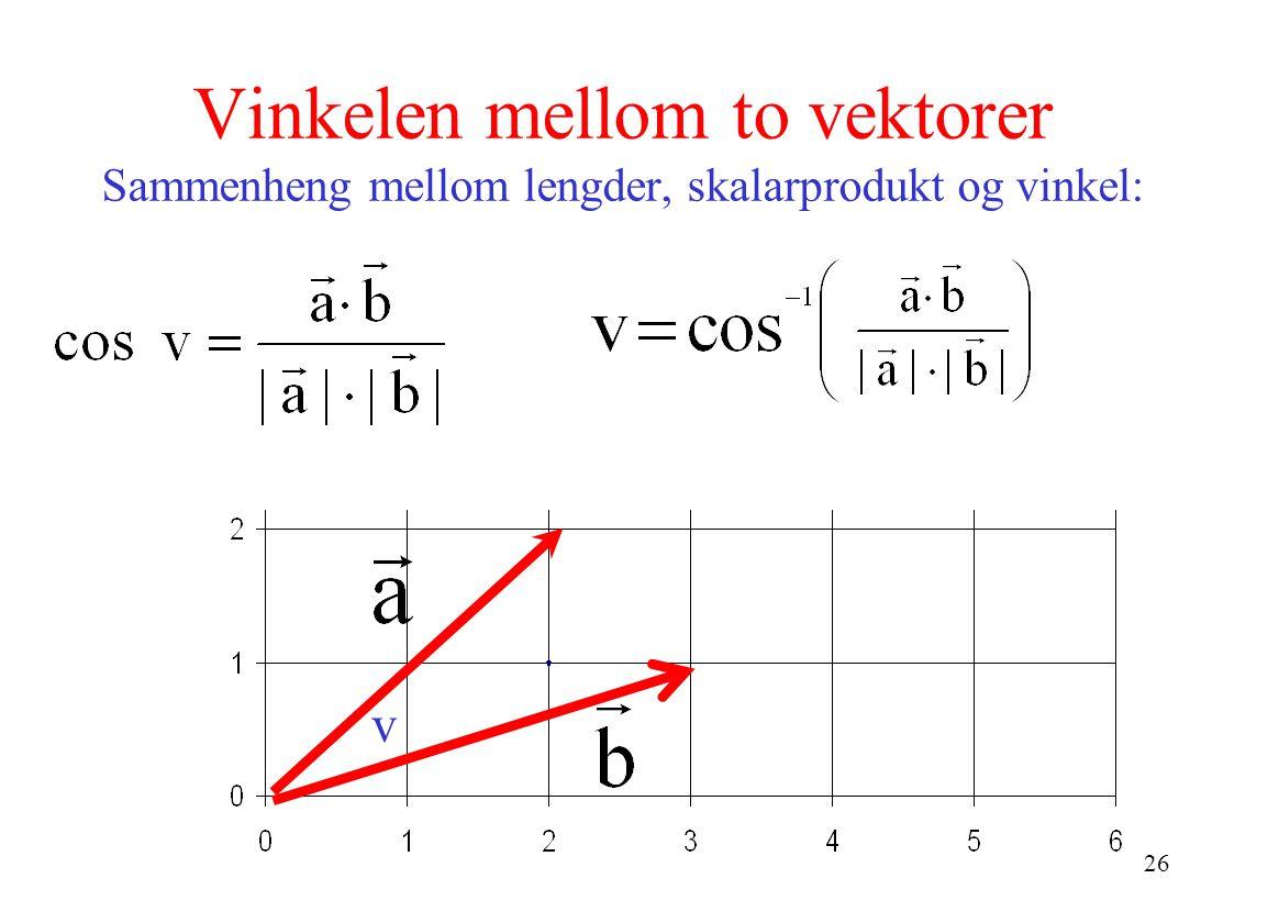 Vinkelen mellom to vektorer Sammenheng mellom lengder, skalarprodukt og vinkel: