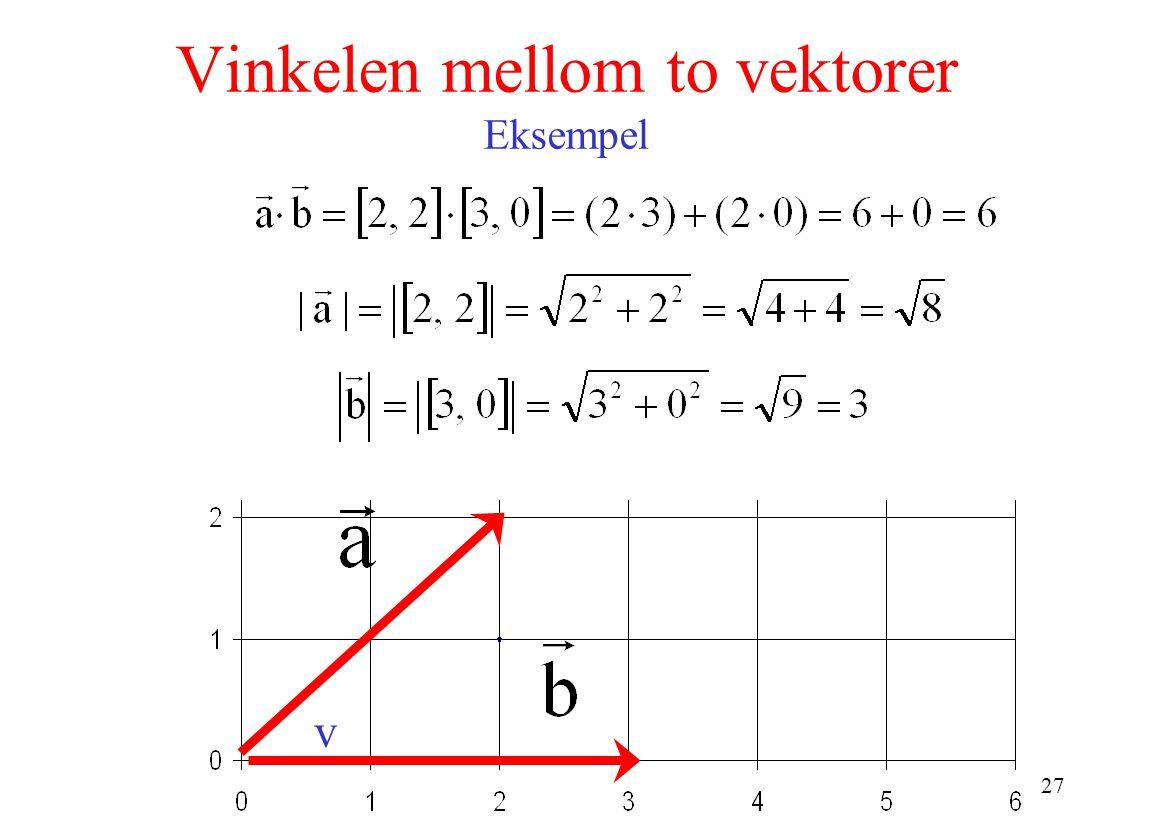 Vinkelen mellom to vektorer Eksempel