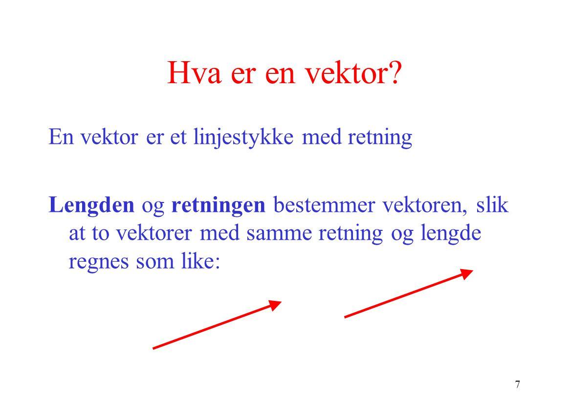Hva er en vektor En vektor er et linjestykke med retning