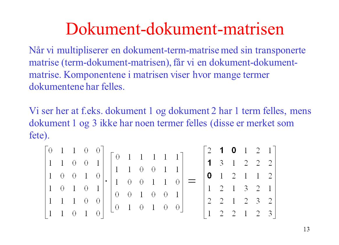 Dokument-dokument-matrisen