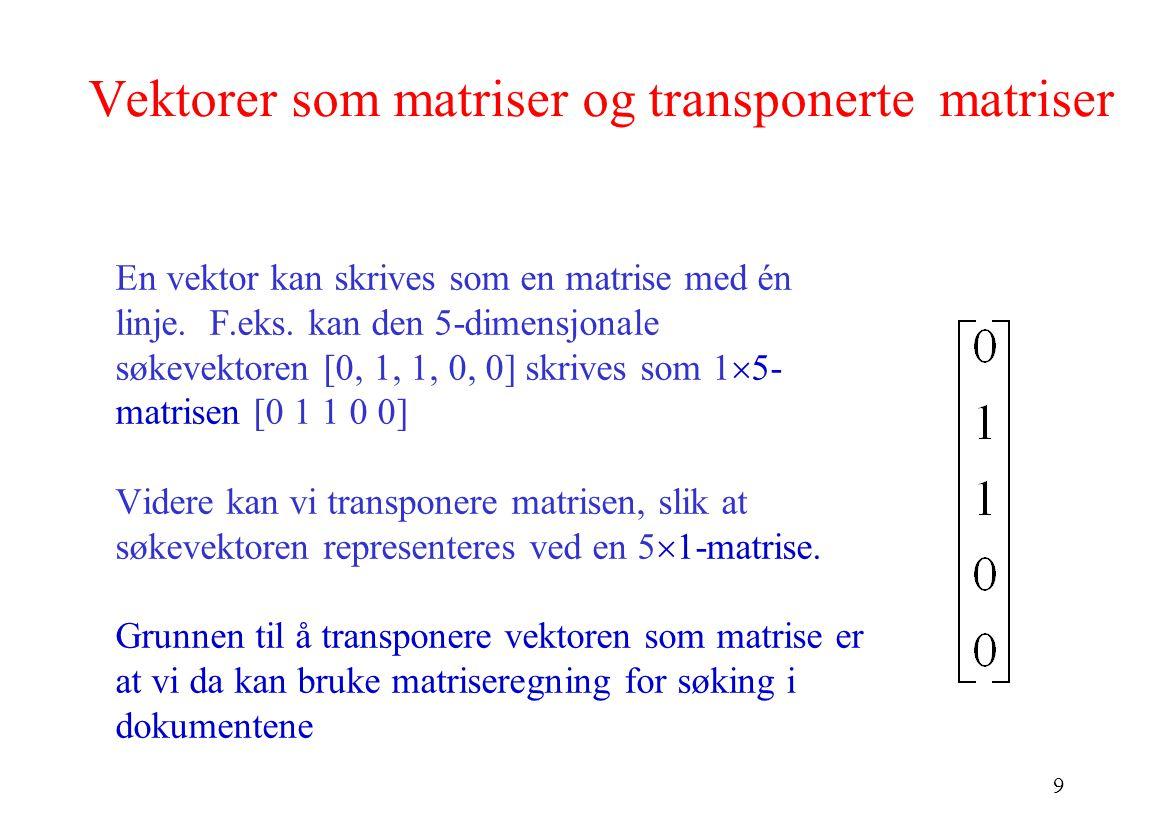 Vektorer som matriser og transponerte matriser