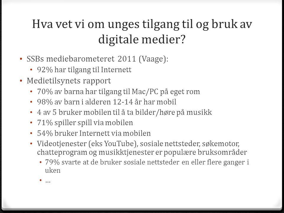 Hva vet vi om unges tilgang til og bruk av digitale medier