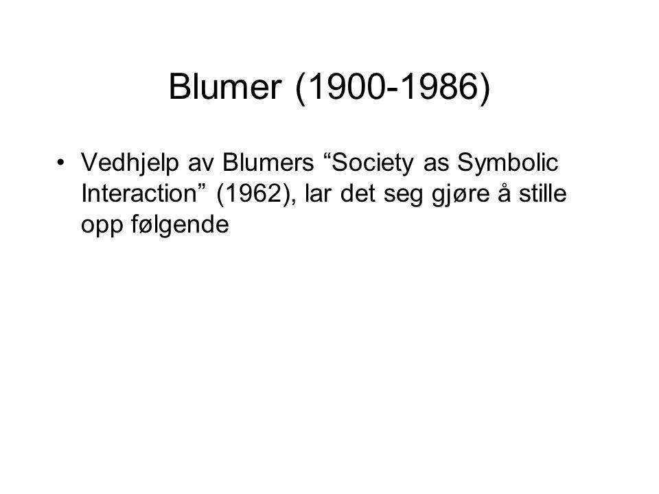 Blumer (1900-1986) Vedhjelp av Blumers Society as Symbolic Interaction (1962), lar det seg gjøre å stille opp følgende.