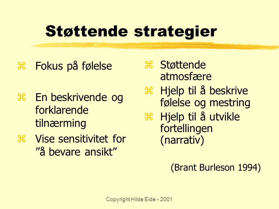 Støttende strategier Fokus på følelse
