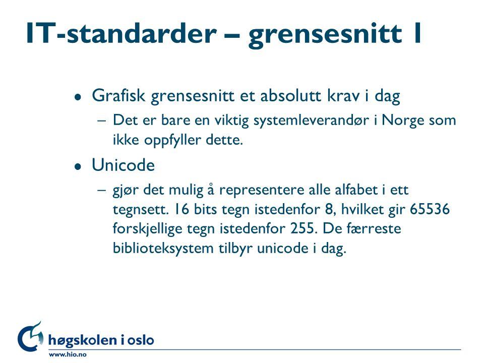 IT-standarder – grensesnitt 1