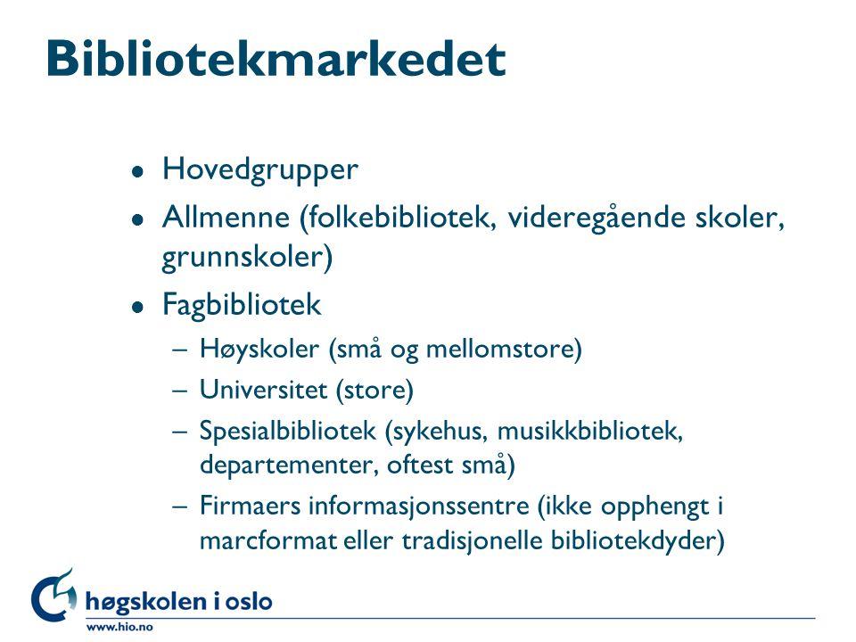 Bibliotekmarkedet Hovedgrupper