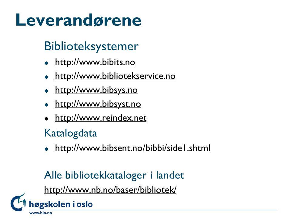 Leverandørene Biblioteksystemer Katalogdata