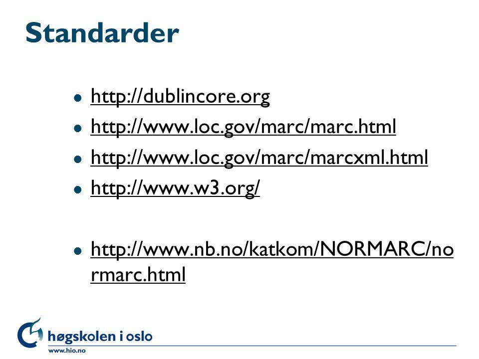 Standarder http://dublincore.org http://www.loc.gov/marc/marc.html