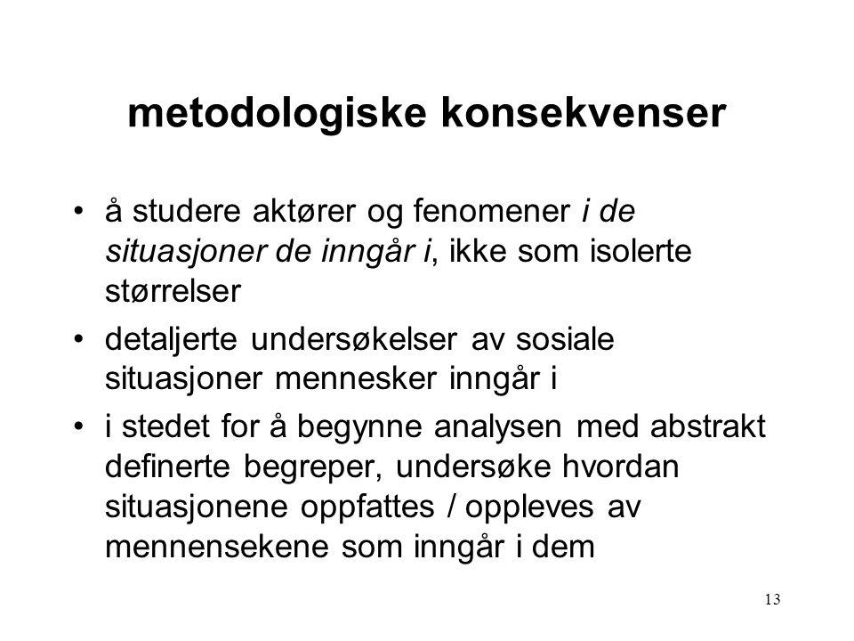 metodologiske konsekvenser