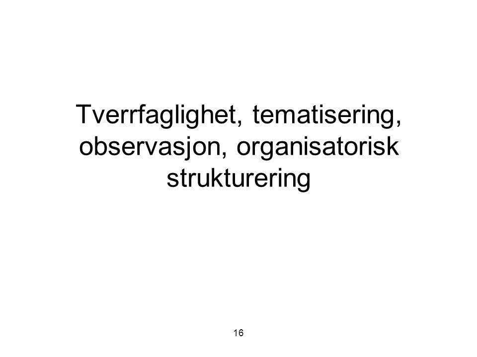 Tverrfaglighet, tematisering, observasjon, organisatorisk strukturering