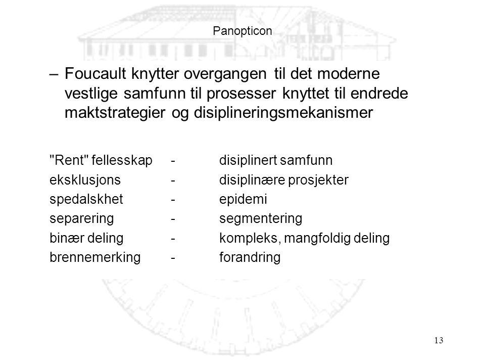 Panopticon Foucault knytter overgangen til det moderne vestlige samfunn til prosesser knyttet til endrede maktstrategier og disiplineringsmekanismer.