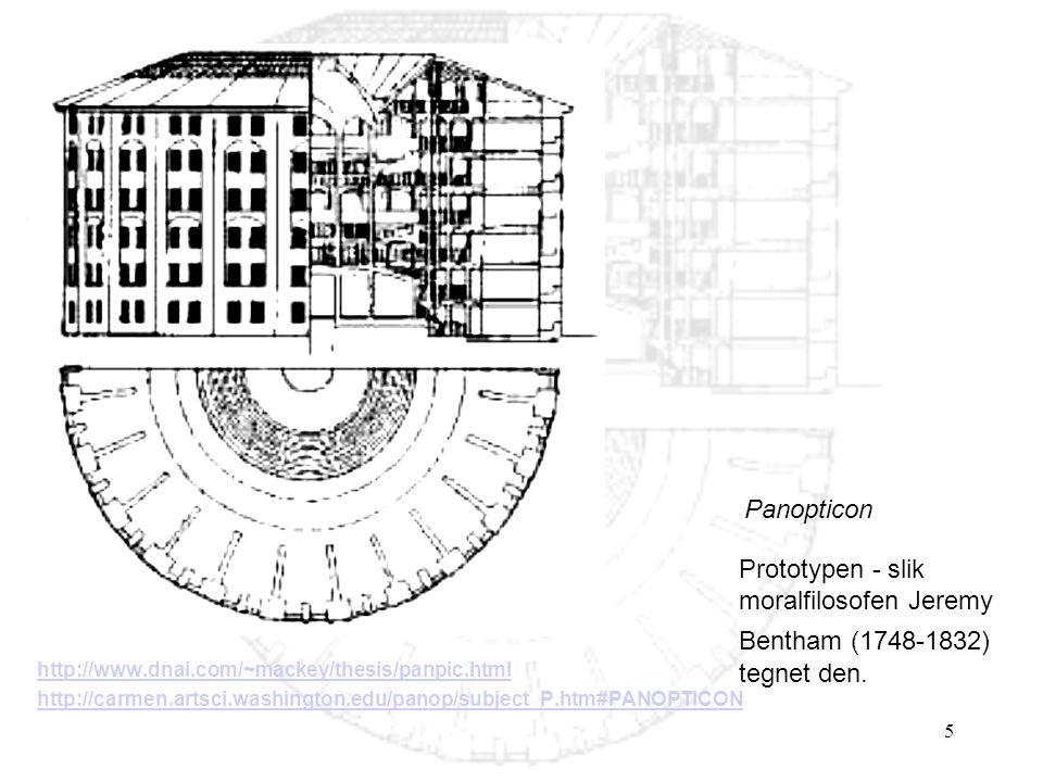 Panopticon Prototypen - slik moralfilosofen Jeremy Bentham (1748-1832) tegnet den. http://www.dnai.com/~mackey/thesis/panpic.html.