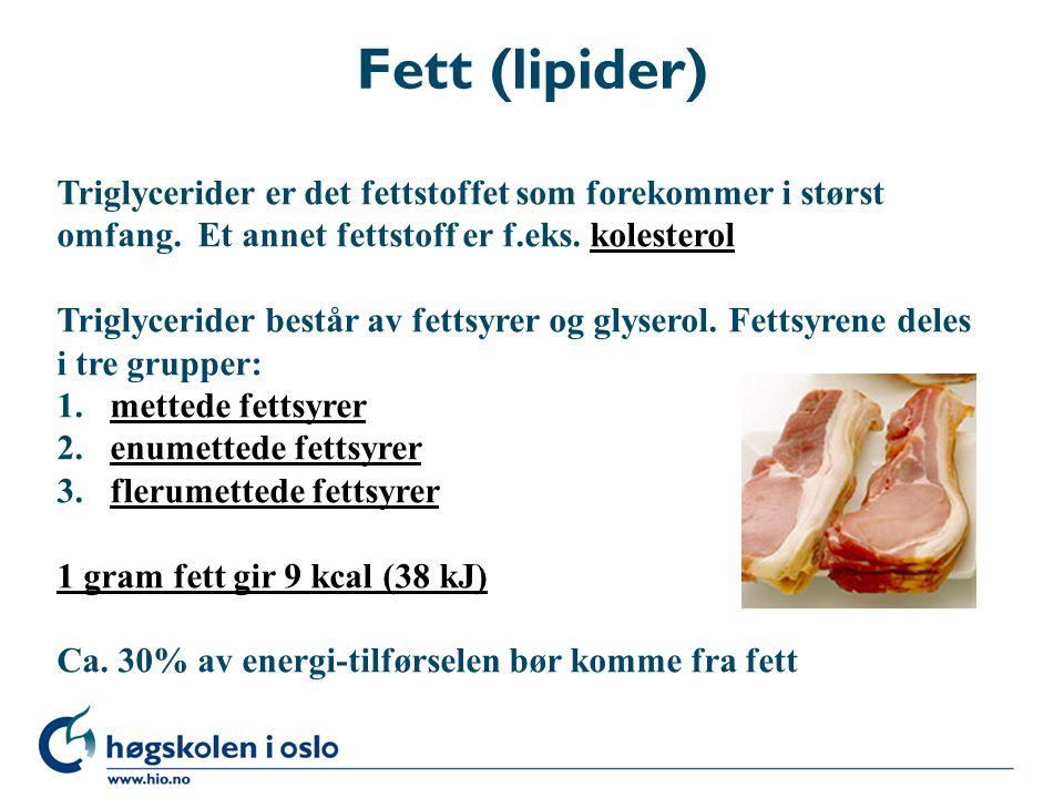 Fett (lipider) Triglycerider er det fettstoffet som forekommer i størst. omfang. Et annet fettstoff er f.eks. kolesterol.