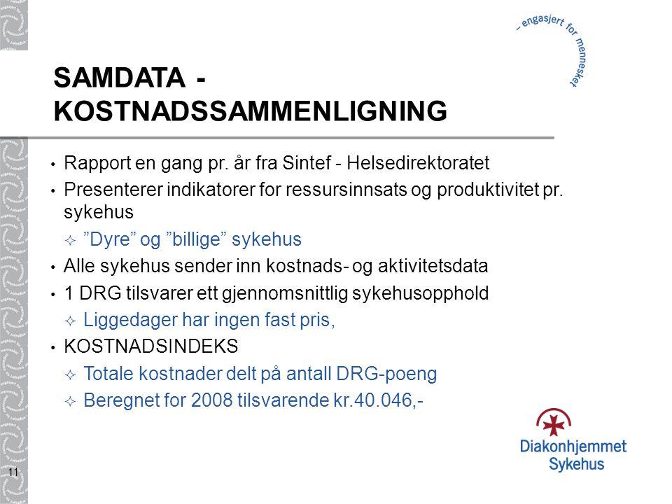 SAMDATA - KOSTNADSSAMMENLIGNING