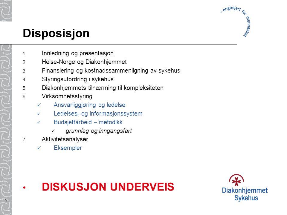 Disposisjon DISKUSJON UNDERVEIS Innledning og presentasjon