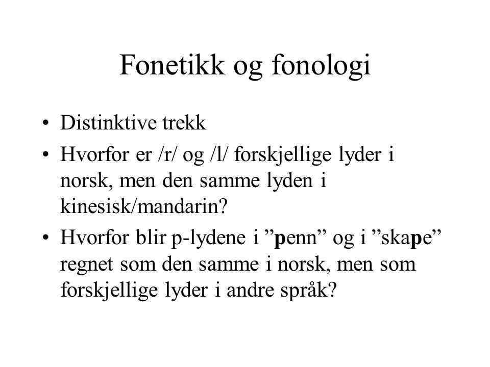 Fonetikk og fonologi Distinktive trekk
