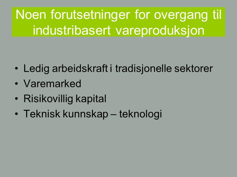 Noen forutsetninger for overgang til industribasert vareproduksjon