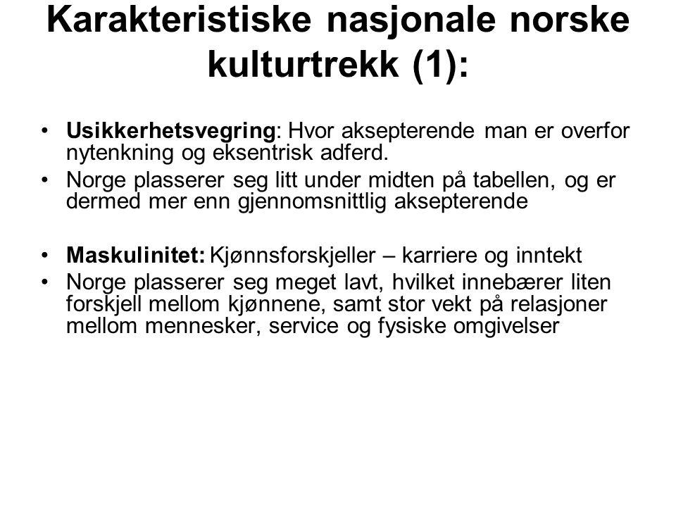 Karakteristiske nasjonale norske kulturtrekk (1):