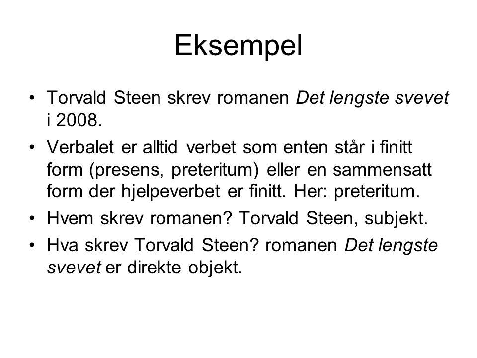 Eksempel Torvald Steen skrev romanen Det lengste svevet i 2008.