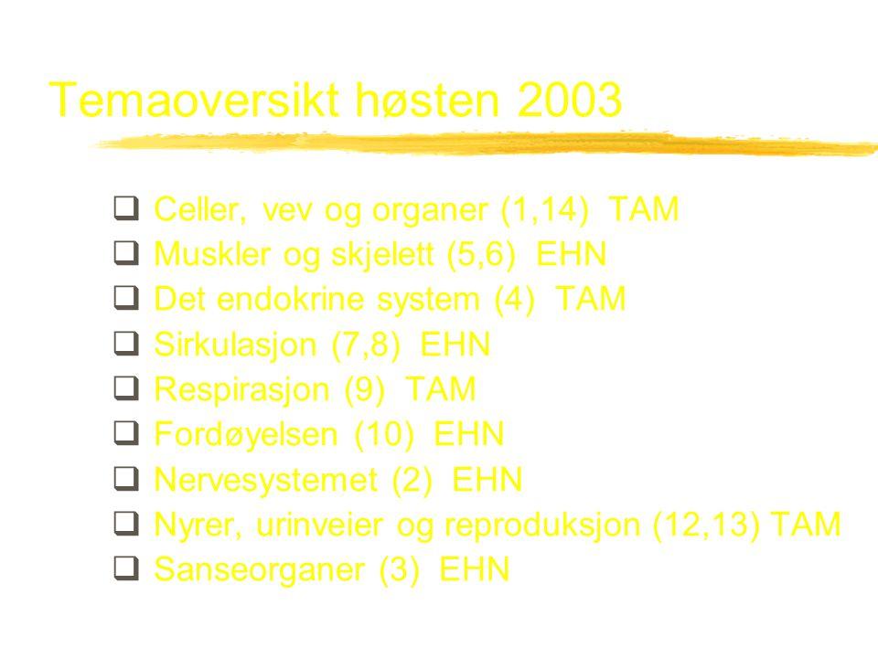 Temaoversikt høsten 2003 Celler, vev og organer (1,14) TAM