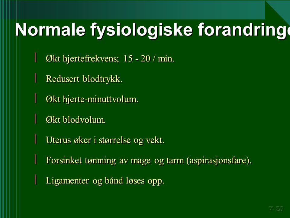 Normale fysiologiske forandringer