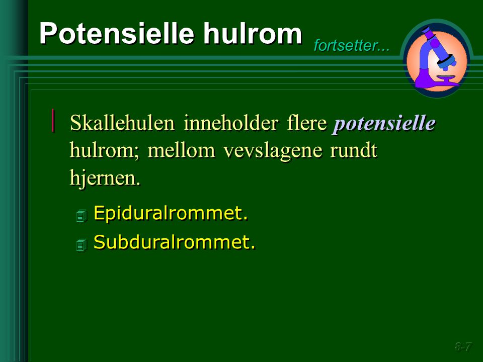 Potensielle hulrom fortsetter... Skallehulen inneholder flere potensielle hulrom; mellom vevslagene rundt hjernen.