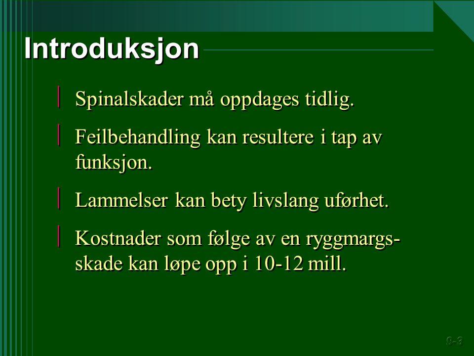 Introduksjon Spinalskader må oppdages tidlig.
