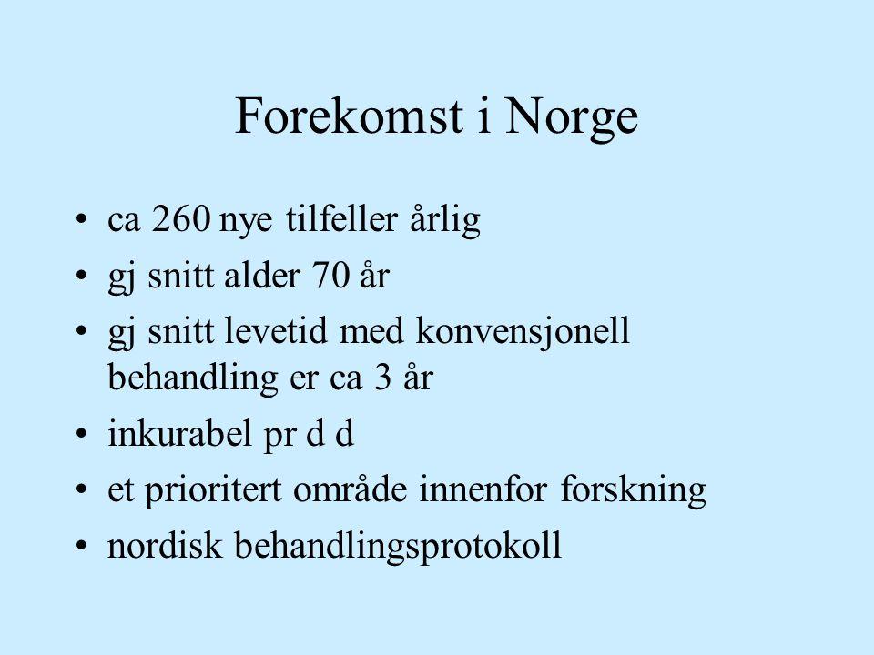 Forekomst i Norge ca 260 nye tilfeller årlig gj snitt alder 70 år