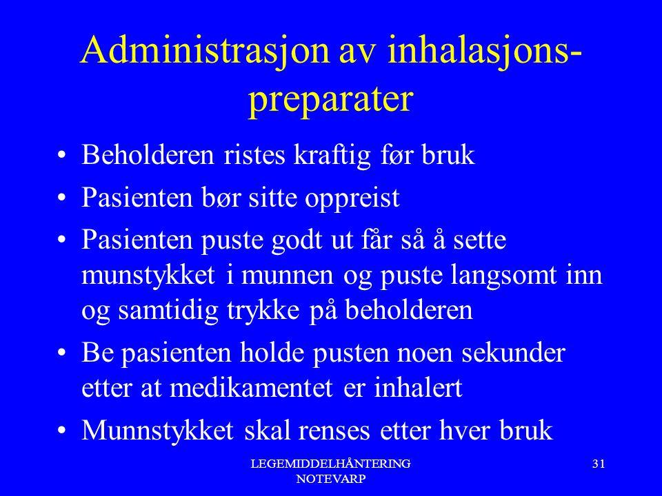 Administrasjon av inhalasjons- preparater