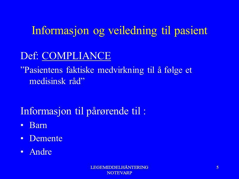 Informasjon og veiledning til pasient