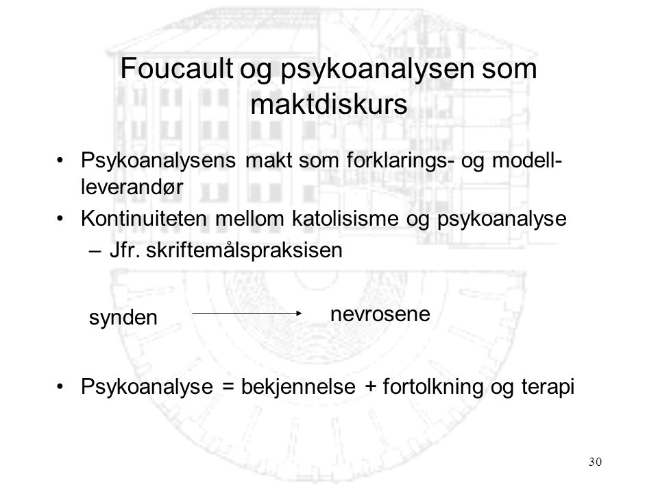 Foucault og psykoanalysen som maktdiskurs