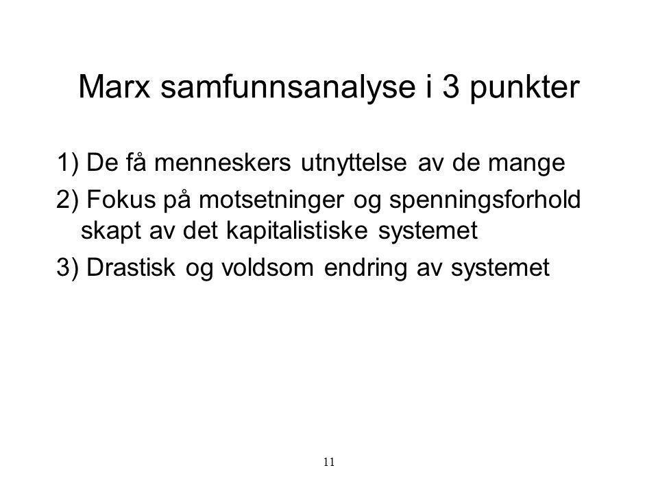 Marx samfunnsanalyse i 3 punkter