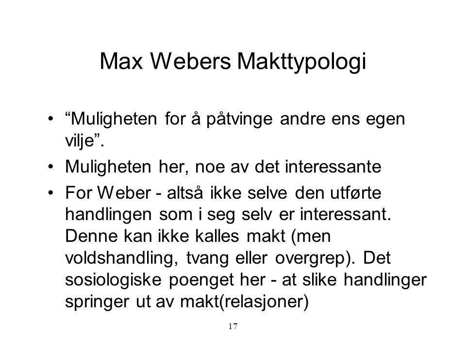 Max Webers Makttypologi