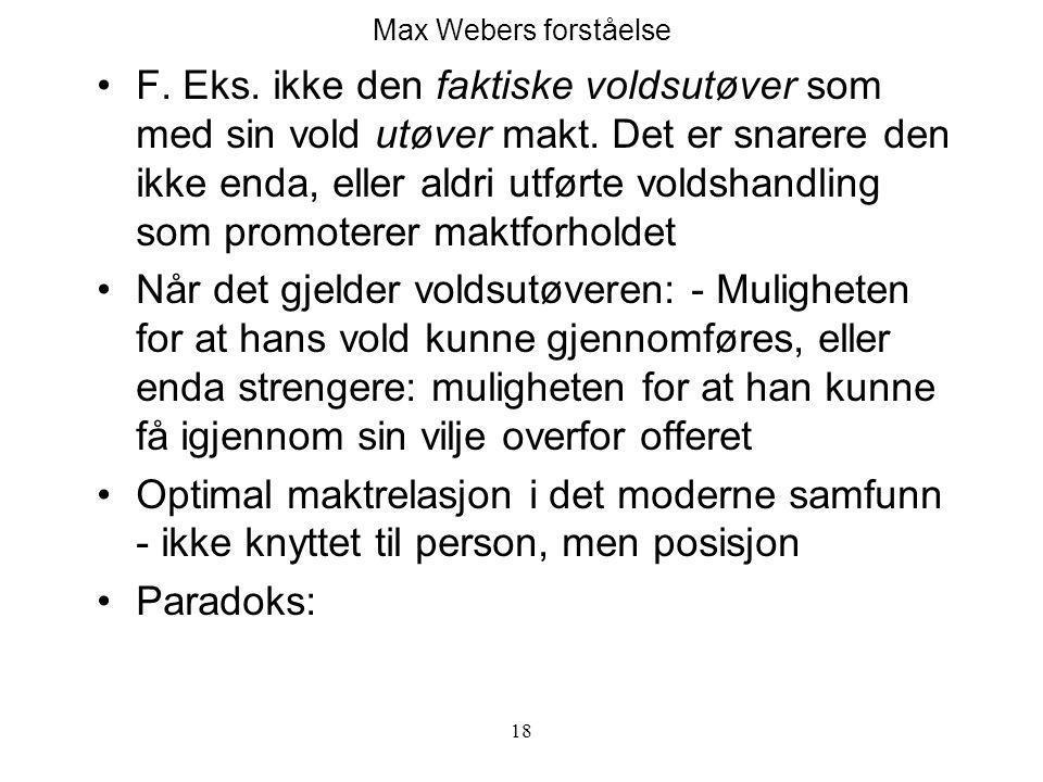 Max Webers forståelse